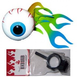 Flaming Eyeball Antenna Ball w/bike adapter - blue/green flame