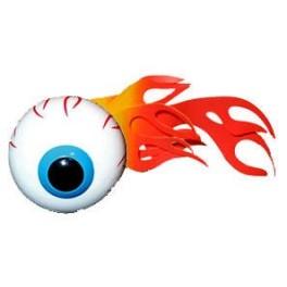 Flaming Eyeball Antenna Ball - red/yellow flame