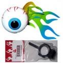 Flaming Eyeball Antenna Ball w/bike adapter - blue/green flame