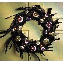 Wreath - Eyeballs and Feathers